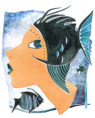 Face girl as astrology symbol Pisces on a pattern  background Imagens