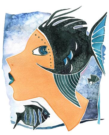 Stellen Sie Mädchen als Astrologiesymbol Fische auf einem Musterhintergrund gegenüber Standard-Bild - 77522779