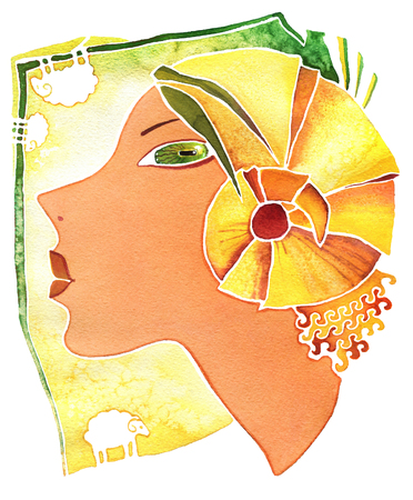 Face girl as astrology symbol Aries on a pattern  background Stock Photo