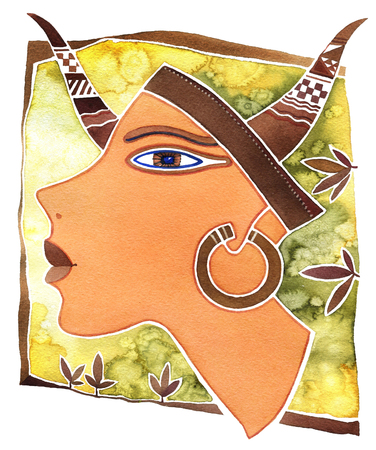 Face girl as astrology symbol Taurus on a pattern  background