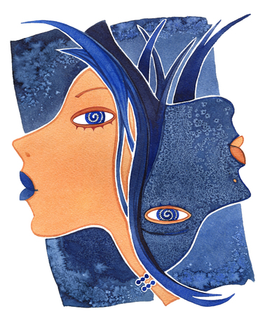 Face girl as astrology symbol Gemini on a pattern  background Banque d'images