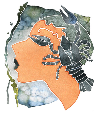 Face girl as astrology symbol Cancer on a pattern  background