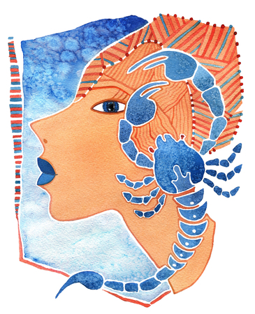 ascendant: Face girl as astrology symbol Scorpio on a pattern  background Stock Photo