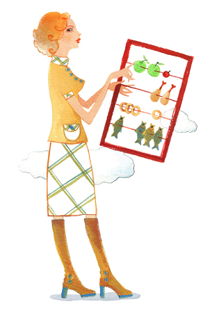 The young woman is hold calories using abacus on a white background