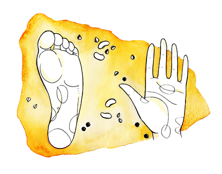 Hand and foot step on the pattern background