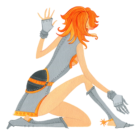 Sitting red headed  girl in armour on a  white background Stock Photo