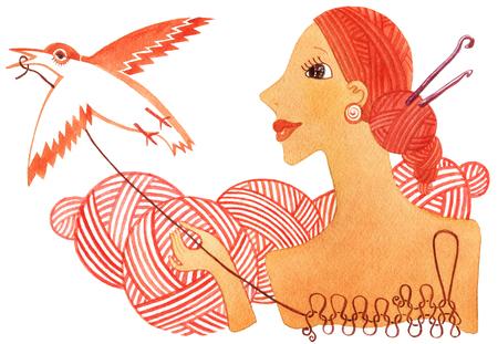 Humorous bird- knitting on a white background