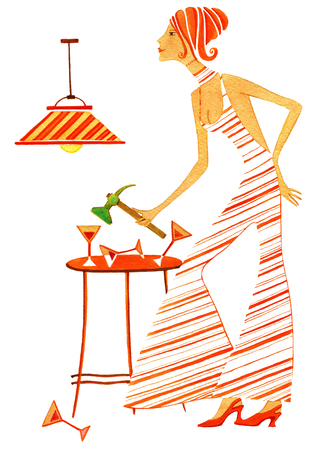 The girl  in stripy dress is breaking bocal on a white background