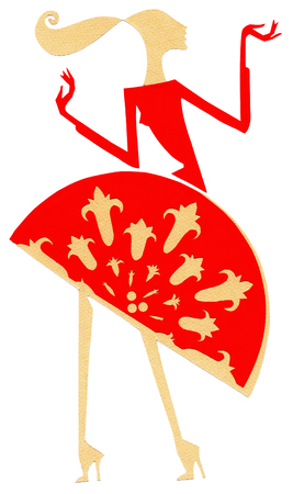 Woman in red oriental dress at applique work on a the white background