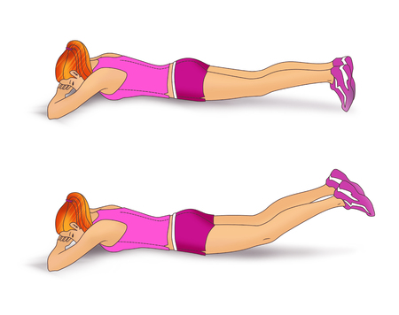 The girl lies face down on the folded hands and performs an exercise to strengthen the muscles of the buttocks: inverted scissors for legs. Isolated on white background Stock Photo