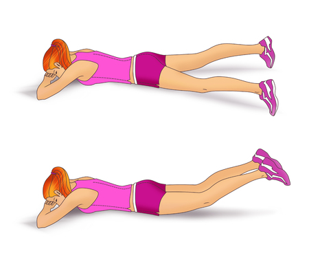 strengthen: The girl lies face down on the folded hands and performs an exercise to strengthen the muscles of the buttocks: inverted scissors for the legs. Isolated on white background