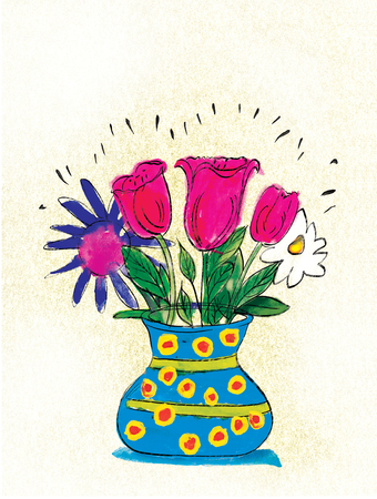 A bouquet of flowers in a vase on a textured background. Stylization childrens drawing