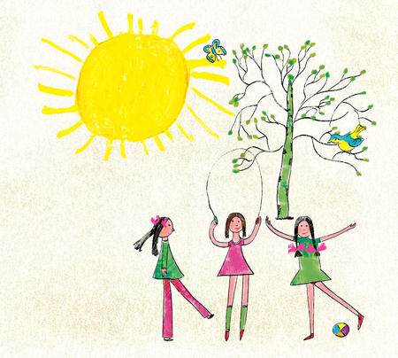 Three girls jump through the rope and play a ball against the background of the sun and a tree with a bird and a butterfly. Stylization for childrens drawing