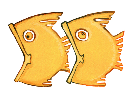 Astrological sign of the zodiac Pisces as gingerbread, isolated on a white background. Two fish swimming one after another, one fish trying to swallow another, drawing gouache. Isolated on white background Stok Fotoğraf