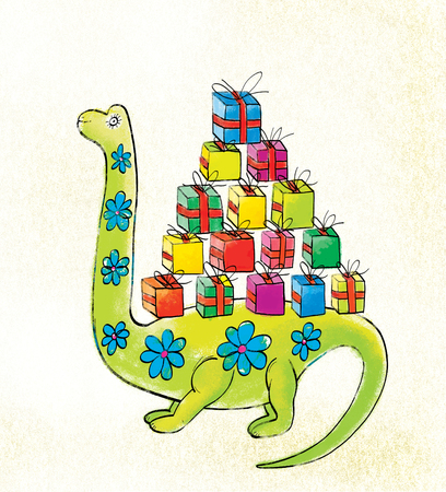 A green dinosaur with floral ornament carries a bunch of colorful boxes of gifts on their backs. Stylization of childrens drawings