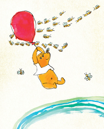 A yellow bear in a white T-shirt is flying on a red balloon. Around the bear flies a flock of striped bees. On a textured background. Stylization of childrens drawing