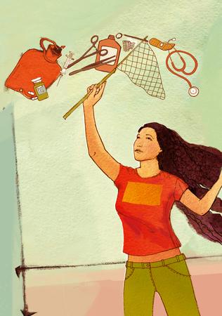 wärmflasche: Eine Frau fängt fliegende Gegenstände um ihre medizinischen Versorgung: eine Heißwasserflasche, eine Spritze, eine Tablette, eine Flasche, eine Schere, eine Klemme, eine Bandhilfe, einen Verband. Auf einem strukturierten Hintergrund