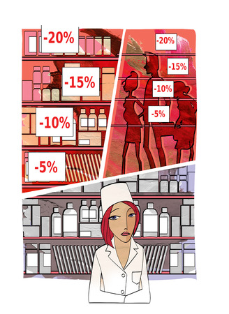 unchecked: A sad young woman in the uniform of the pharmacist behind the counter against the backdrop of unchecked medicines, price tags with discounts and crowds of people. On the background of the texture of watercolor paper Stock Photo