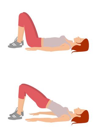 Chica realiza ejercicios levantando la cintura pélvica de la posición acostada en la espalda. Aislado en un fondo blanco