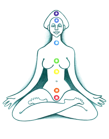 Woman in lotus position on a white background