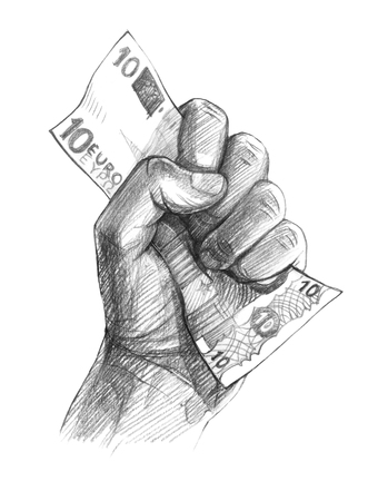 A mans fist with a note in it is 10 euros.Graphic linear tonal drawing by slate pencil.  Isolated on white background
