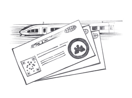 highspeed: Three tickets for high-speed train. Graphic linear tonal drawing by slate pencil. Isolated on white background