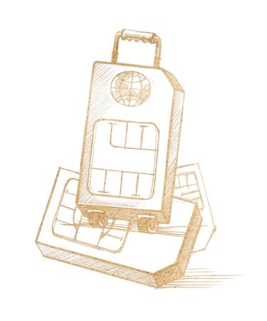 SIM-card in the form of a suitcase on wheels as a symbol of distant travels. Graphic linear tonal drawing by slate pencil. Sepia, toned paper..  Isolated on white background