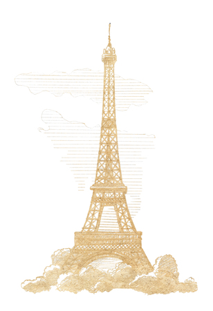 romantic places: Eiffel Tower, Paris.  Graphic linear tonal drawing by slate pencil. Sepia, toned paper. Isolated on white background
