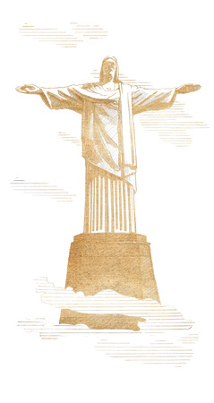 A statue of the Christ-Redeemer Rio de Janeiro, Brazil. Graphic linear tonal drawing by sepia, toned paper. Isolated on white background Stock Photo