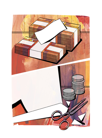Bundles of notes, cut paper, columns of coins and scissors on a textured watercolor background in the form of comic strip windows. Raster illustration Stock Photo