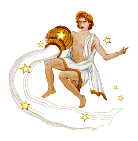 Astrological sign of the zodiac Aquarius as a young man pouring water out of a pitcher , isolated on a white background Stock Photo
