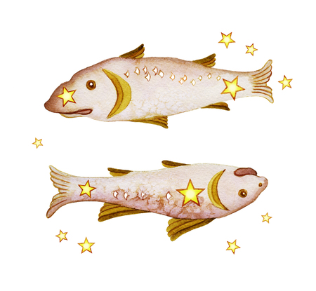 Astrological sign of the zodiac Pisces, isolated on a white background. Two fish swimming one after another. Isolated on white background