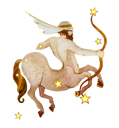 Astrological sign of the zodiac Sagittarius watercolor in retro style, isolated on a white background