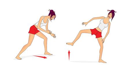 흰색 티셔츠와 빨간 반바지의 소녀가 스모 레슬링 훈련 시스템에서 운동을 수행합니다. 래스터 그림, 흰 배경에 고립 된