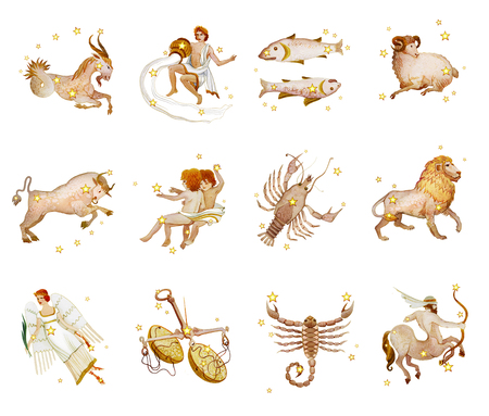 Set of twelve signs of the zodiac, watercolor in retro style. Isolated on white background Stock Photo