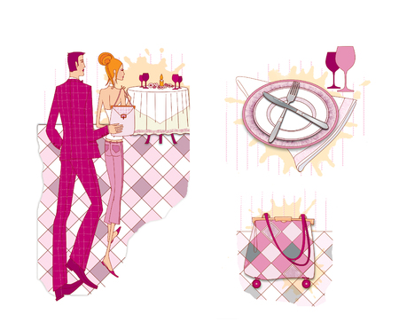 A set of illustrations on etiquette in a restaurant: a couple enters a restaurant; a bag on wheels, crossed cutlery