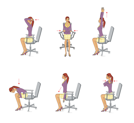 A young woman in the office performs exercises to strengthen and relax the muscles of the neck, arms and trunk sitting on a chair. Isolated on white background