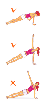 The red-haired girl performs the exercise, turning the trunks with the support of one hand to strengthen the muscles of the press and back. Raster, isolated on a white background Stock Photo