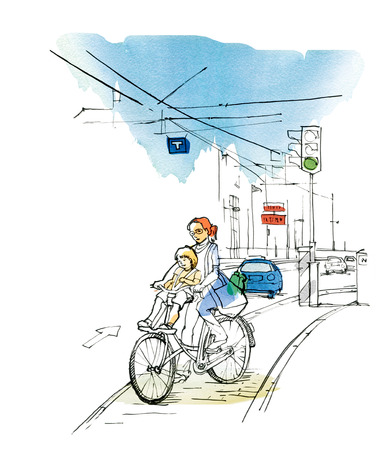 Sketch of an urban landscape with a Woman with a child on a bicycle,  a car and a traffic light. Graphic arts. Raster illustration with elements of watercolor