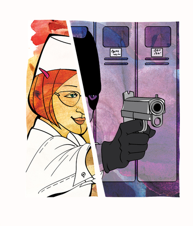 Employee-thief. Theft in the workplace, disguise. Good half of the girl and the girl in the form of a bandit with a gun. Comic. Raster computer graphics.