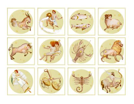Satz von zwölf Zeichen des Tierkreises in blasser Farbe, Aquarell im Retrostil. Getrennt auf weißem Hintergrund Standard-Bild - 90087055