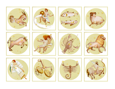 Set of twelve signs of the zodiac in pale color, watercolor in retro style. Isolated on white background