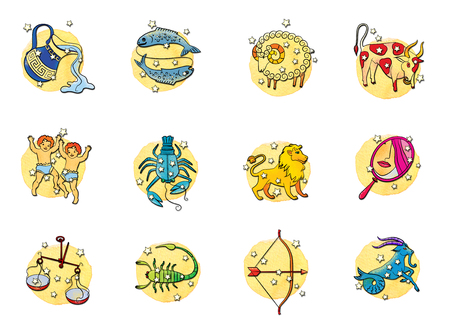Set of twelve signs of the zodiac circle, isolated on a watercolour background Stockfoto