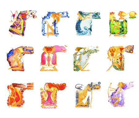 A set of twelve images of barefoot women in situations of astrological signs. Symbol of the astrological sign. Isolated on white background