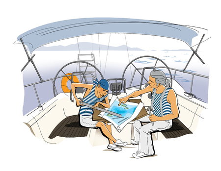 Yacht Team. Scene on the yacht. A girl and a man in vests lay a route.  Illustration. Raster computer graphics.