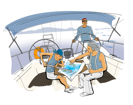 Yacht Team. Scene on the yacht. A girl and a man in vests lay the route. The man is holding the wheel. Illustration. Raster computer graphics.