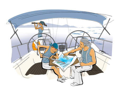 Yacht Team. Scene on the yacht. A girl and a man in vests lay a route. Young observes the shore through binoculars. Illustration. Raster computer graphics. Stock Photo