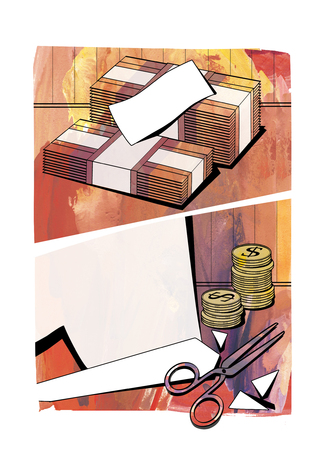 Budget cuts - bundles of banknotes, columns of coins with the dollar sign, cut paper and scissors. Against a background of textured paper, in the style of comics