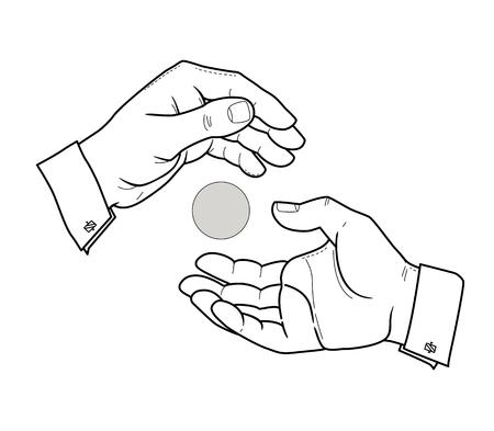 Twee mannelijke handen op een witte achtergrond. Verschuift van hand tot hand. Lijntekening. Geïsoleerd op witte achtergrond