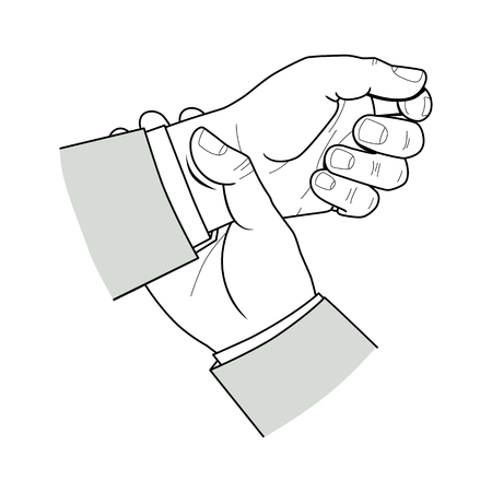 Two male hands on a white background. A mans tails his pulse on his wrist with his fingers. Vector. Isolated on white background Reklamní fotografie